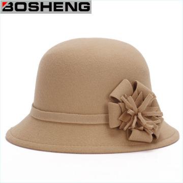 Women Wool Bowler Cloche Felt Bucket Hat with Flower