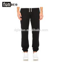 Homens de algodão esporte calça preta correndo calça longa para meninos Homens de algodão calças esporte preto correndo calça longa para meninos