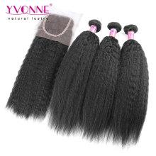 Brazilian Kinky Straight Hair Bundles with Lace Closure