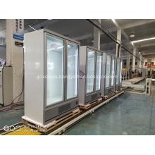 Vertical double glass door freezer for ice cream