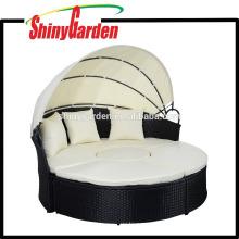 PE Wicked Rattan Furniture Sofa Sets Rattan Big Round Bed
