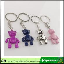Llavero multicolor personalizado del oso de la sonrisa del metal 3D