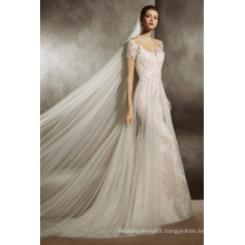 Illusion Neckline Champagne Fit and Flare Wedding Gown