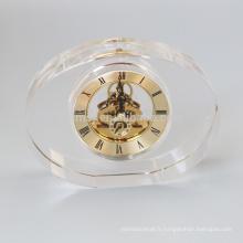 Horloge en cristal ovale blanc de mode pour le bureau