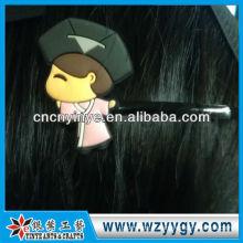 Grampo de cabelo do pvc macio OEM personalizado dos desenhos animados