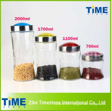4PCS Bean Storage Clear Glass Jars avec couvercle à vis
