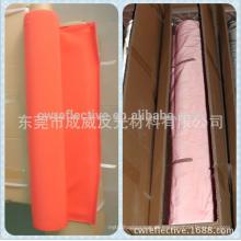 China Dongguan alta luz reflexiva brilhante laranja / poliéster céu azul tecido reflexivo