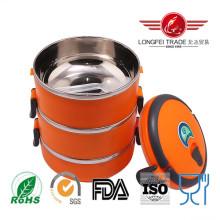 Lancheira de aço inoxidável laranja redonda com fechadura