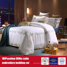 100%хлопок 300TC отель вышивка постельных принадлежностей отель постельное белье