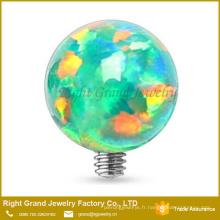 Dessus d'ancre cutanée en acier chirurgical 316L avec boule d'opale de 3mm 14g