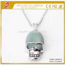 Природные зеленый авантюрин Gemstone череп ожерелье 10SN0170 с серебряной цепочкой 60 см полудрагоценных камней кристалл ювелирные изделия