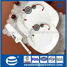 high quality 8pcs super white square ceramic dinner plate with cake server