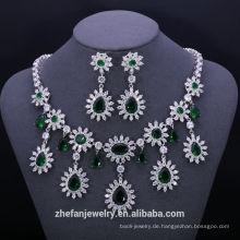 China Großhandel Kostüm Smaragd Zirkon Schmuck Sets Mode-Accessoires Lager