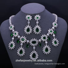 china wholesale costume emerald zircon jewelry sets fashion accessories stock