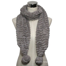 Lady Fashion Faux Fur Knitted Scarf with POM-Poms (YKY4363)