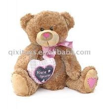 plush valentine teddybear with heart and bow,soft animal toy