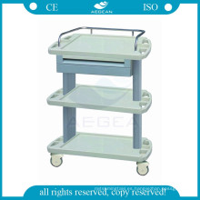 AG-LPT004A CE ISO ABS carro de instrumentos médicos carro de utilidad de plástico del hospital
