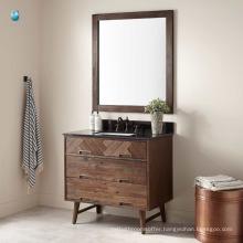 China furniture waterproof wooden bathroom floor cabinet with rectangular undermount sink