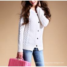 Ladies' pure cashmere sweater cardigan shoulder board crew neck 100% cashmere cardigan