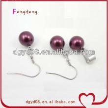 Purple Pendant and Earrings Pearl Jewelry Set