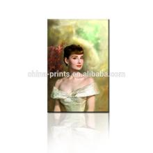 Audrey Hepburn Canvas Art/Beautiful Lady Fabric Painting/Decorative Oil Painting