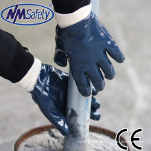 NMSAFETY jersey liner full coated three dipping blue nitrile heavy-duty gloves