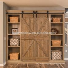 Brown color home doors wood interior doors with K type oak plank panel barn door
