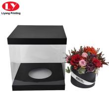 Benutzerdefinierte Black Square Flower Box Clear Boxes Lieferung