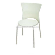 Chaise de salle à manger en métal en tôle d'acier, chaise de restaurant blanche