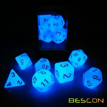 Bescon Gemini, rayures de motifs polyédriques 7pcs Set ICY ROCKS, Luminous RPG Dice Set d4 d6 d8 d10 d12 d20 d%, Brick Box Packaging