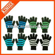 2014 Neueste Mode stricken benutzerdefinierte Acryl Magie gestreifte Handschuhe