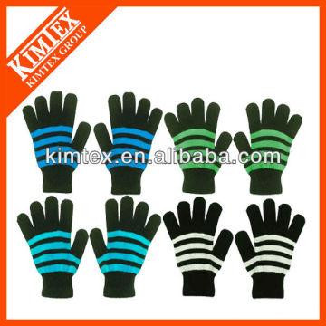 2014 Новейшие моды вязать пользовательских акриловые магии полосатые перчатки