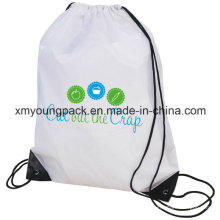 Promotional Custom Waterproof 210d Polyester Nylon Sports Gym Sack Drawstring Back Pack 35X45cm