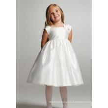 Vestido de baile vestido de tafetá com gola quadrada na altura do joelho tafetá bowknot flor