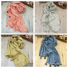 New arrival color turkish tassels scarfs and shawls printed cotton floral hijab