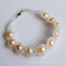 Jóias de pulseira de pérolas de água doce de moda (EB1529-1)