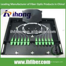19 '' Fijado 1U montaje en rack Fibra Óptica Patch Panel / ODF con cubierta transparente