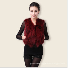 Lady's Short Sexy Fox Fur Vest,Europe Popular Slim Fur Vest,Women Spring Autumn Outwear Jacket,Black Red Green Blue Purple 1008
