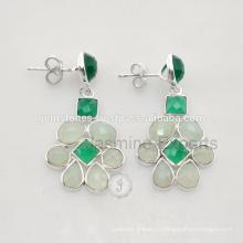 Красивый Зеленый Оникс Драгоценных Камней Обручальное Король И Королева Серьги Для Оптовая Продажа