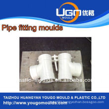 High quality good price plastic mould factory for standard size 2Cavity Tee fitting mold in taizhou China