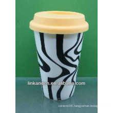 hot sale!!! 300ml lovely wholesale ceramic travel mug
