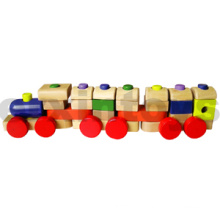 Wooden Stacking Train with Colorful Blocks (80098)
