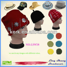 New Fashion Women Ladies Winter Wool Hat with clear rhinestone crystal decorate Funny Hat , LSW58