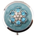 Jeweled Carnation miroirs Compact avec émail bleu