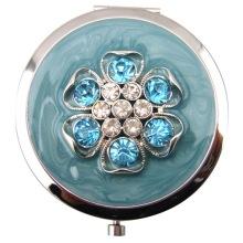 Jeweled cravos espelhos compactos com esmalte azul