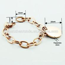 2015 estilo europeu novo aço inoxidável chegada IP rosa pulseira de ouro para as mulheres