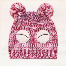Enfants bébé enfants tricoté chouette impression de hibou chapeau broderie bonnet chaud (hw633)
