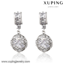 92303 Mode rhodié perles rondes zircon cubique bijoux Eardrop