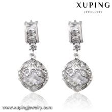 92303 Fashion Rhodium-Plated Round Bead Cubic Zirconia Jewelry Eardrop