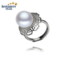 AAA 12mm Button 925 Sterling Silver Ring Natural Freshwater Pearl Ring